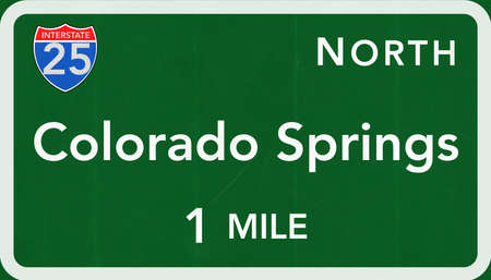 interstate: Colorado Springs USA Interstate Highway Sign Photorealistic Illustration Stock Photo