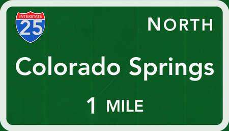 colorado springs: Colorado Springs USA Interstate Highway Sign Photorealistic Illustration Stock Photo