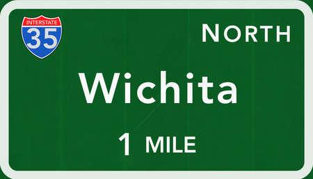 Wichita USA Interstate Highway Sign Photorealistic Illustration Stock Photo