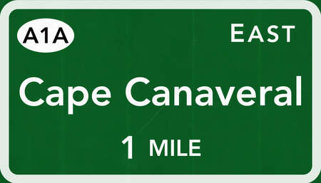 cape canaveral: Cape Canaveral USA Interstate Highway Sign Photorealistic Illustration Stock Photo