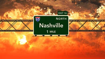 nashville: Nashville USA Interstate Highway Sign in a Beautiful Cloudy Sunset Sunrise Photorealistic 3D Illustration