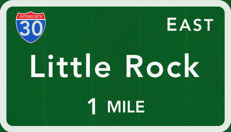 little rock: Little Rock USA Interstate Highway Sign Photorealistic Illustration Stock Photo