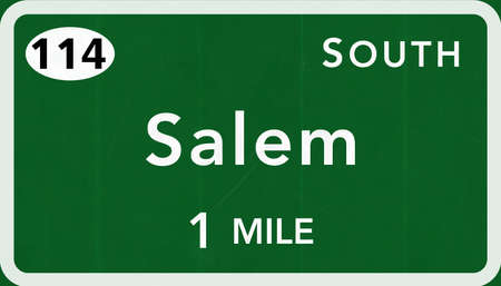 interstate: Salem USA Interstate Highway Sign Photorealistic Illustration