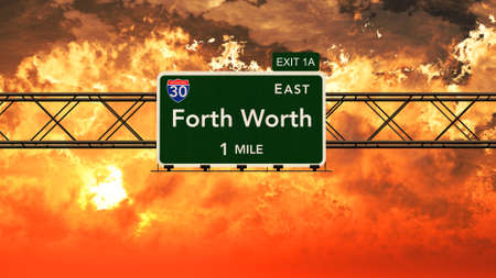 forth: Forth Worth USA Interstate Highway Sign in a Beautiful Cloudy Sunset Sunrise Photorealistic 3D Illustration