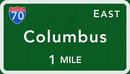 interstate: Columbus USA Interstate Highway Sign Photorealistic Illustration Stock Photo