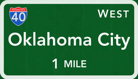 oklahoma city: Oklahoma City USA Interstate Highway Sign Photorealistic Illustration