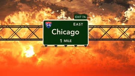 Chicago USA Interstate Highway Sign in a Beautiful Cloudy Sunset Sunrise Photorealistic 3D Illustration