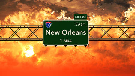 orleans symbol: New Orleans USA Interstate Highway Sign in a Beautiful Cloudy Sunset Sunrise Photorealistic 3D Illustration Stock Photo