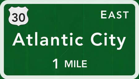 atlantic city: Atlantic City USA Interstate Highway Sign Photorealistic Illustration