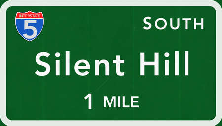 interstate: Silent Hill USA Interstate Highway Sign Photorealistic Illustration