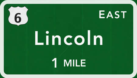 lincoln: Lincoln USA Interstate Highway Sign Photorealistic Illustration