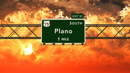 plano: Plano USA Interstate Highway Sign in a Beautiful Cloudy Sunset Sunrise Photorealistic 3D Illustration