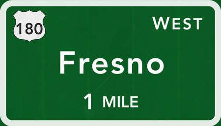 Fresno USA Interstate Highway Sign Photorealistic Illustration
