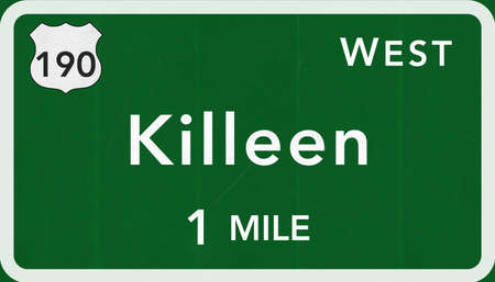 interstate: Killeen USA Interstate Highway Sign Photorealistic Illustration