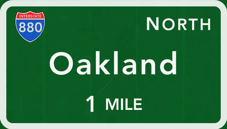 oakland: Oakland USA Interstate Highway Sign Photorealistic Illustration Stock Photo