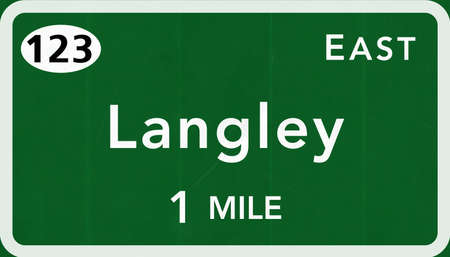 interstate: Langley USA Interstate Highway Sign Photorealistic Illustration Stock Photo