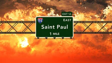 paul: Saint Paul USA Interstate Highway Sign in a Beautiful Cloudy Sunset Sunrise Photorealistic 3D Illustration