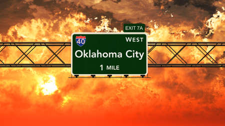 oklahoma city: Oklahoma City USA Interstate Highway Sign in a Beautiful Cloudy Sunset Sunrise Photorealistic 3D Illustration