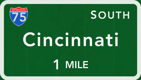 interstate: Cincinnatti USA Interstate Highway Sign Photorealistic Illustration