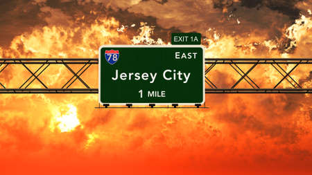 jersey city: Jersey City USA Interstate Highway Sign in a Beautiful Cloudy Sunset Sunrise Photorealistic 3D Illustration