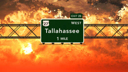 tallahassee: Tallahassee USA Interstate Highway Sign in a Beautiful Cloudy Sunset Sunrise Photorealistic 3D Illustration Stock Photo