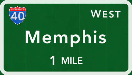 interstate: Memphis USA Interstate Highway Sign Photorealistic Illustration Stock Photo