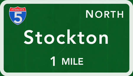 highway sign: Stockton USA Interstate Highway Sign Photorealistic Illustration