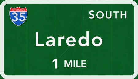 interstate: Laredo USA Interstate Highway Sign Photorealistic Illustration