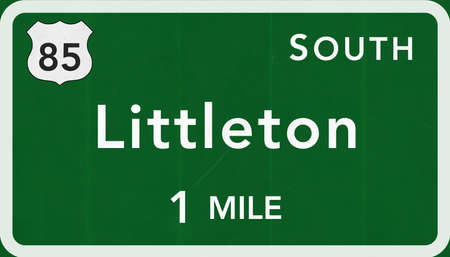 interstate: Littleton USA Interstate Highway Sign Photorealistic Illustration