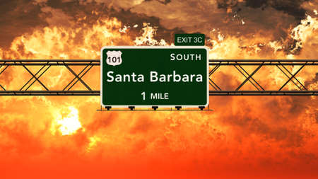 Santa Barbara USA Interstate Highway Sign in a Beautiful Cloudy Sunset Sunrise Photorealistic 3D Illustration