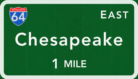 interstate: Chesapeake USA Interstate Highway Sign Photorealistic Illustration