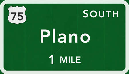 highway sign: Plano USA Interstate Highway Sign Photorealistic Illustration