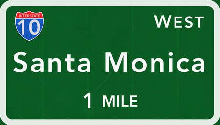 monica: Santa Monica USA Interstate Highway Sign Photorealistic Illustration Stock Photo