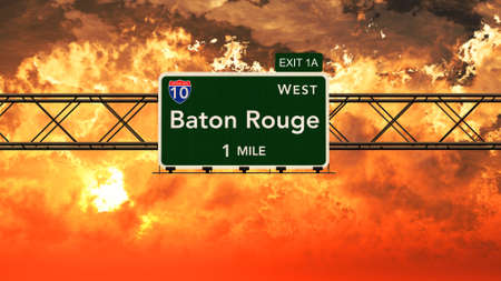 baton rouge: Baton Rouge USA Interstate Highway Sign in a Beautiful Cloudy Sunset Sunrise Photorealistic 3D Illustration Stock Photo