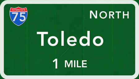 interstate: Toledo USA Interstate Highway Sign Photorealistic Illustration Stock Photo