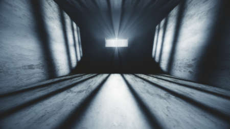 redemption: Lightrays Shine through Rails in Demolished Solitary Confinement Prison Cell 3D Illustration Stock Photo