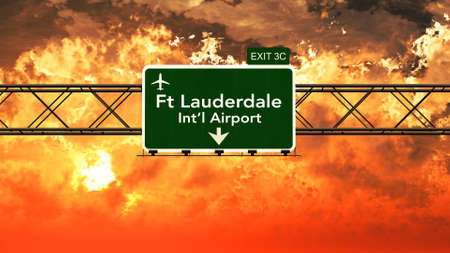 passing: Passing under Fort Lauderdale USA Airport Highway Sign in a Beautiful Cloudy Sunset 3D Illustration Stock Photo