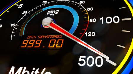 incremental: Internet Bandwidth Download Upload Speed Meter 3D Illustration