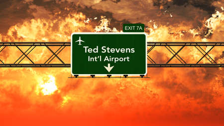 ted: Passing under Anchorage Ted Stevens USA Airport Highway Sign in a Beautiful Cloudy Sunset 3D Illustration