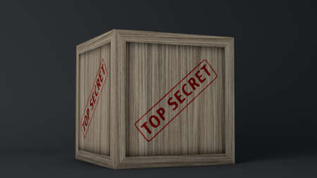 Top Secret Wooden Crate 3D Illustration