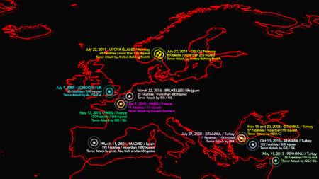 Map of Major Terrorist Attacks in Europe between 2000-2016 Illustration