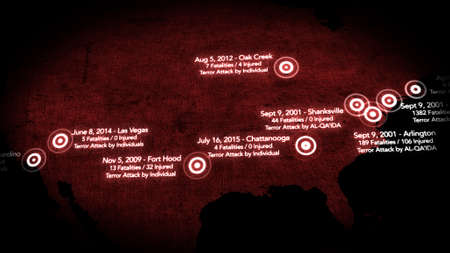 decade: Map of Major Terrorist Attacks in the USA between 2000-2016 Illustration Stock Photo
