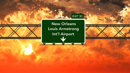 Passing under New Orleans Louis Armstrong USA Airport Highway Sign in a Beautiful Cloudy Sunset 3D Illustration
