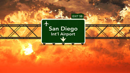 Passing under San Diego USA Airport Highway Sign in a Beautiful Cloudy Sunset 3D Illustration