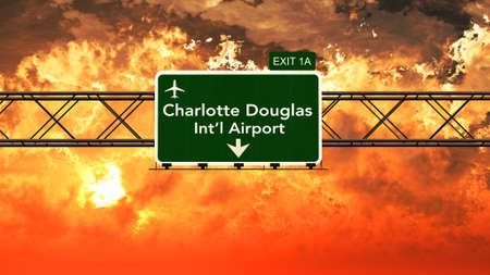 charlotte: Passing under Charlotte Douglas USA Airport Highway Sign in a Beautiful Cloudy Sunset 3D Illustration Stock Photo