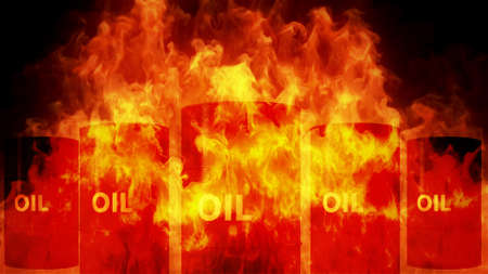 raging: Oil Barrel in Raging Fire Oil Price Crisis Concept 3D Illustration