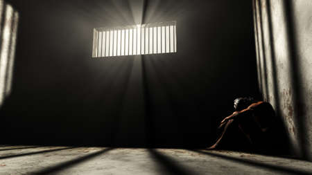 lockup: Prisoner in Bad Condition in Demolished Solitary Confinement under Lightrays 3D Illustration Stock Photo