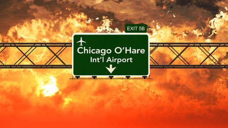 Passing under Chicago Ohare USA Airport Highway Sign in a Beautiful Cloudy Sunset 3D Illustration Stock Illustration - 57624614