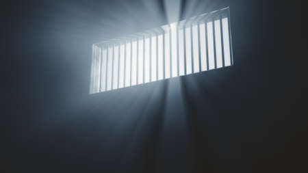 lockup: Lightrays Shine through Rails in Demolished Solitary Confinement Prison Cell 3D Illustration Stock Photo