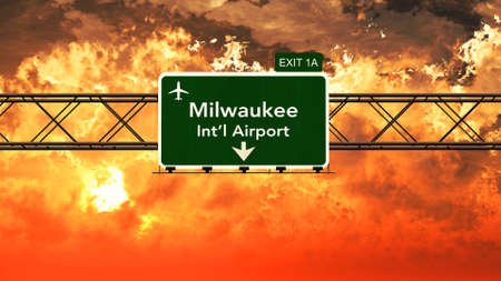milwaukee: Passing under Milwaukee USA Airport Highway Sign in a Beautiful Cloudy Sunset 3D Illustration